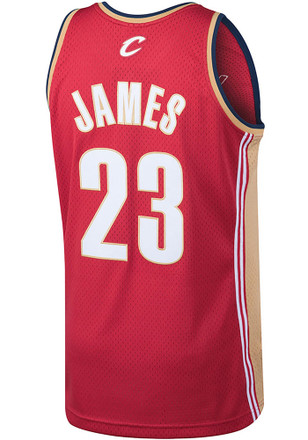 LeBron James Mitchell and Ness Cleveland Cavaliers Mens Maroon Throwback Basketball Jersey