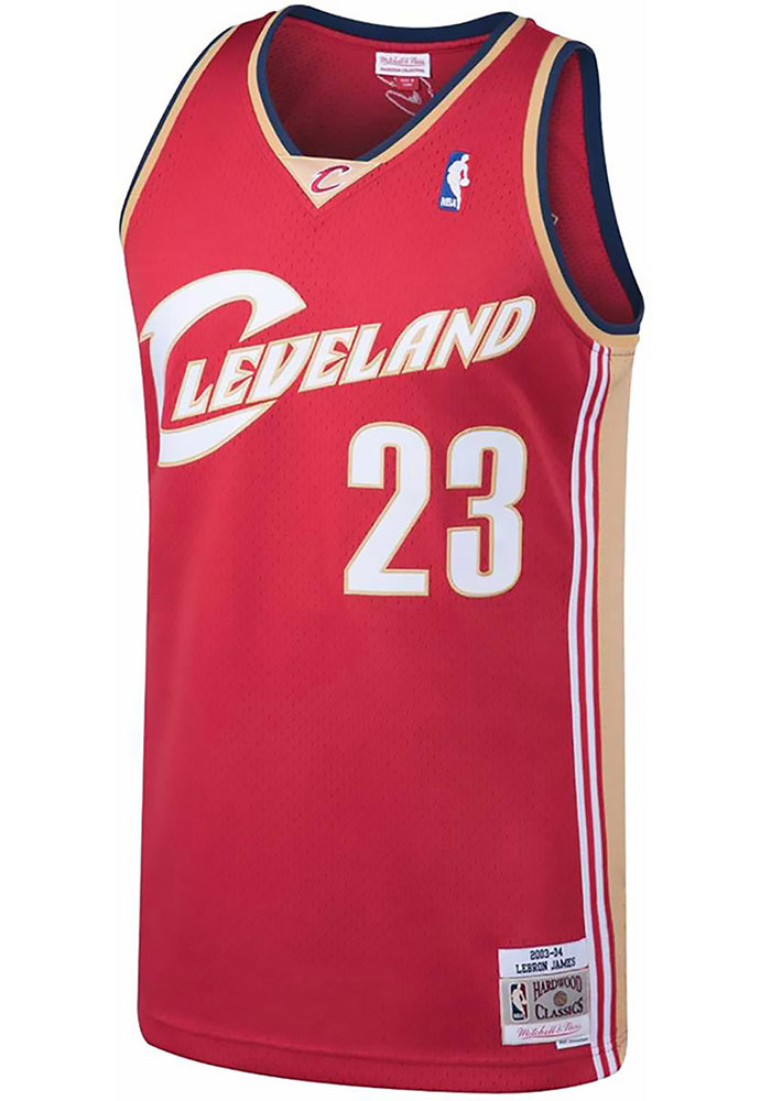 LeBron James Mitchell and Ness Cleveland Cavaliers Mens Maroon Throwback Jersey - Image 2