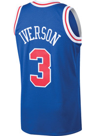 15ea362bfa6 Allen Iverson Mitchell and Ness Philadelphia 76ers Blue Throwback Basketball  Jersey