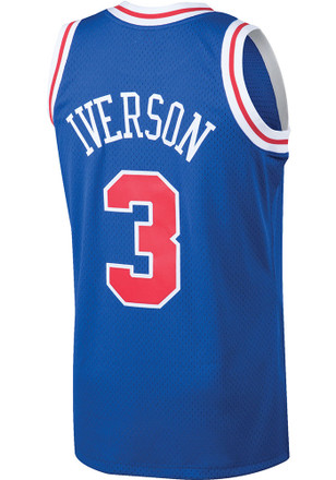 Allen Iverson Mitchell and Ness Philadelphia 76ers Mens Blue Throwback Basketball Jersey