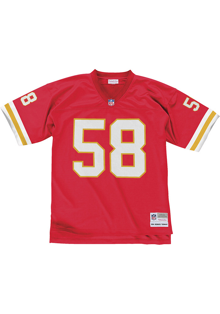 Derrick Thomas Mitchell and Ness Kansas City Chiefs Mens Red Throwback Football Jersey - Image 2