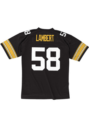Jack Lambert Mitchell and Ness Pittsburgh Steelers Mens Black Throwback Jersey