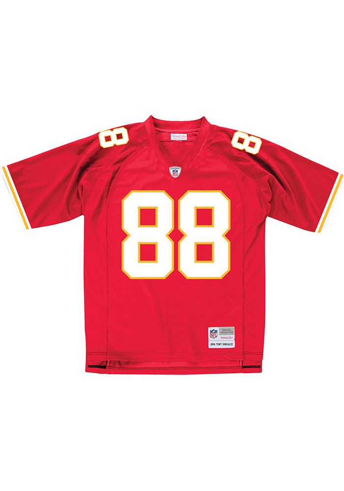 Tony Gonzalez Mitchell and Ness Kansas City Chiefs Mens Red Throwback Football Jersey - Image 2