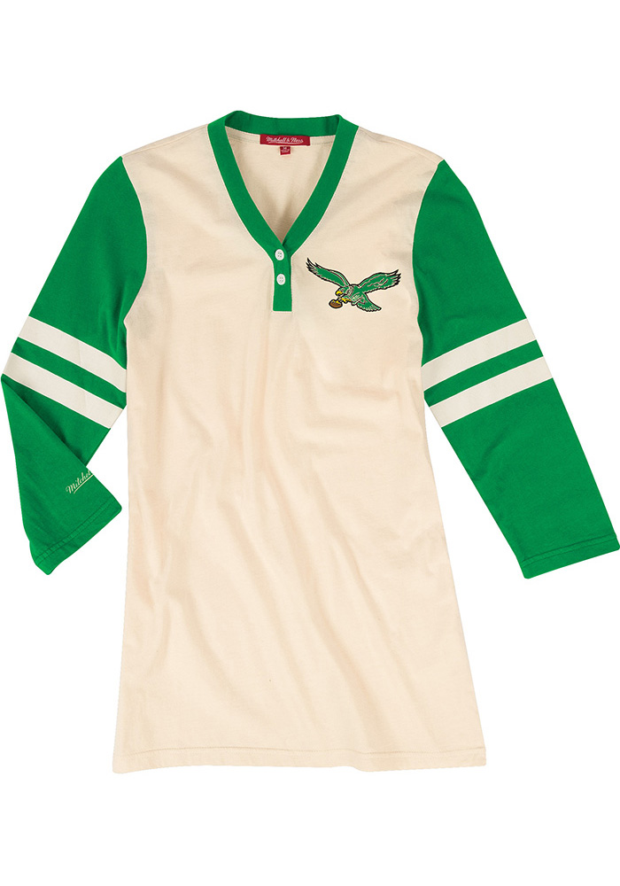 Mitchell and Ness Philadelphia Eagles Womens White Shoot Out LS Tee - Image 1