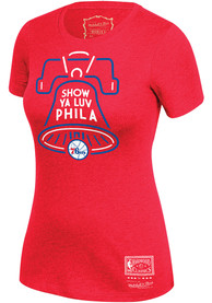 Mitchell and Ness Philadelphia 76ers Womens Red BWT T-Shirt
