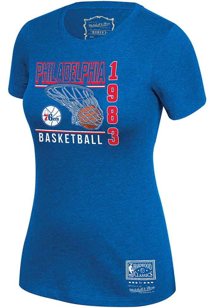 Mitchell and Ness Philadelphia 76ers Womens Blue BWT T-Shirt