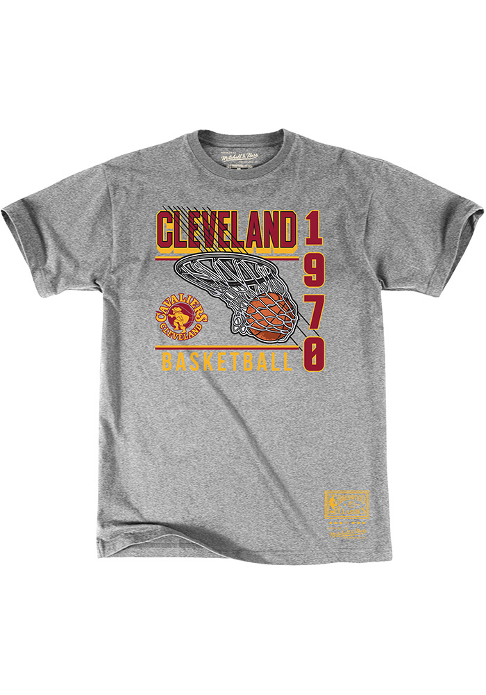 Mitchell and Ness Cleveland Cavaliers Grey Baskets Short Sleeve Fashion T Shirt - Image 1
