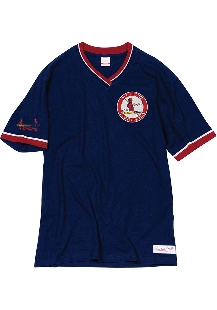 Mitchell and Ness St Louis Cardinals Navy Blue Overtime Win Short Sleeve Fashion T Shirt - Image 1