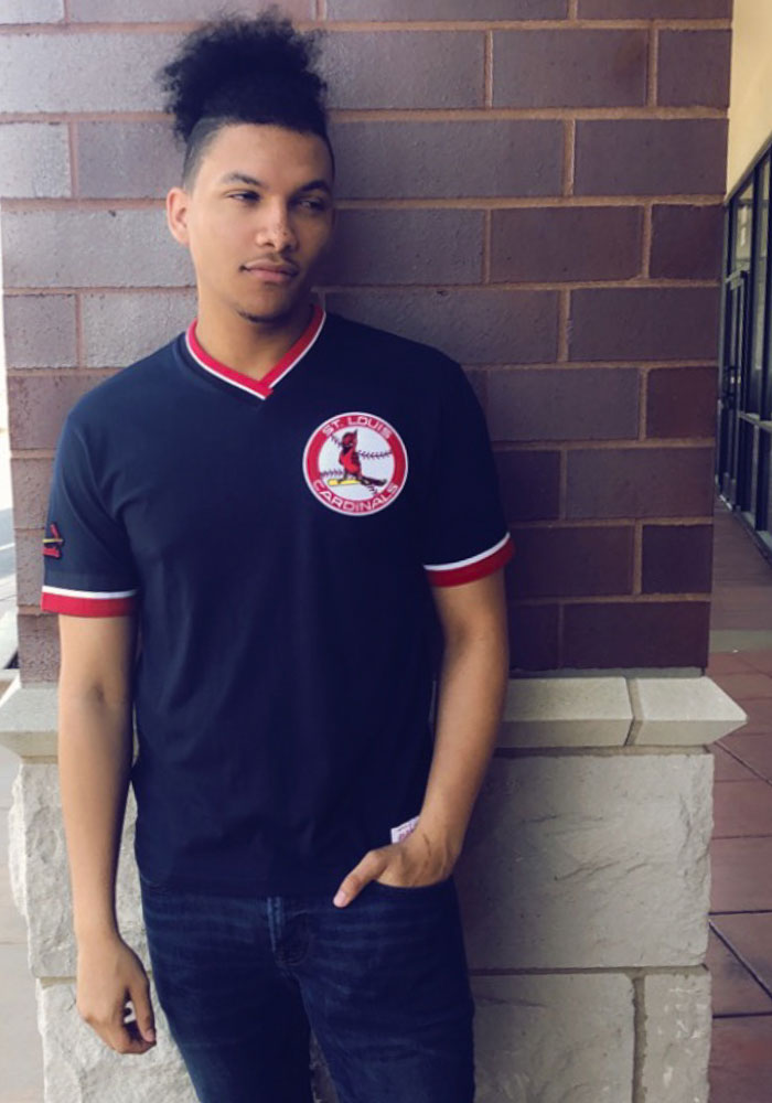 Mitchell and Ness St Louis Cardinals Navy Blue Overtime Win Short Sleeve Fashion T Shirt - Image 2