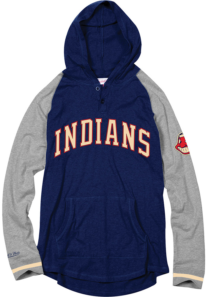 Mitchell and Ness Cleveland Indians Mens Navy Blue Slugfest Fashion Hood - Image 1