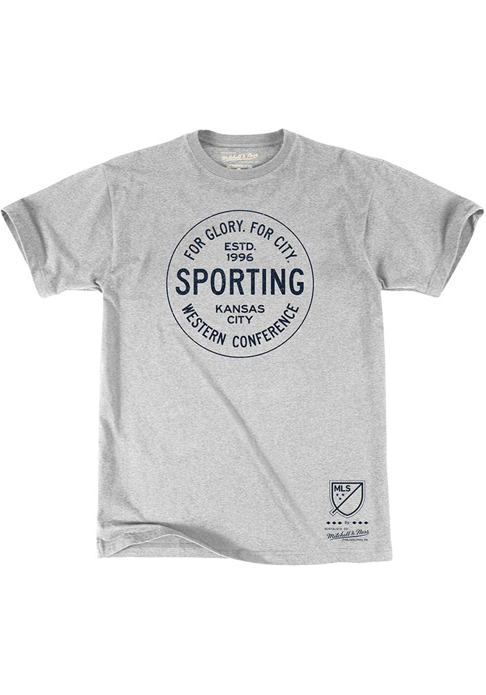 Mitchell and Ness Sporting Kansas City Grey City Seal Short Sleeve T Shirt - Image 1