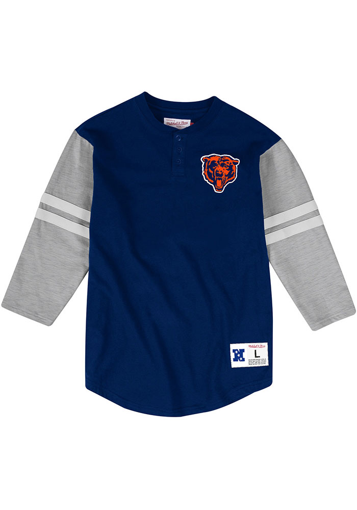 Mitchell and Ness Chicago Bears Navy Blue Team Henley Long Sleeve Fashion T Shirt - Image 1