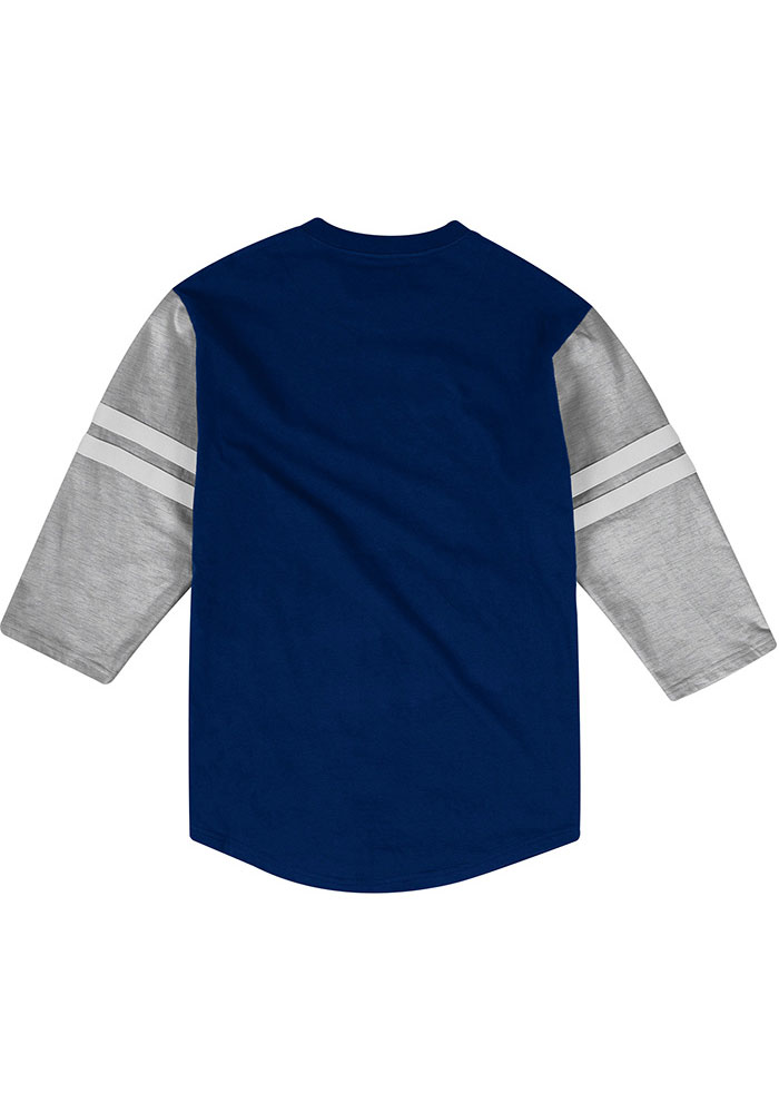 Mitchell and Ness Chicago Bears Navy Blue Team Henley Long Sleeve Fashion T Shirt - Image 2