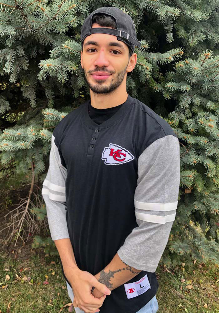 Mitchell and Ness Kansas City Chiefs Black Team Henley Long Sleeve Fashion T Shirt - Image 3