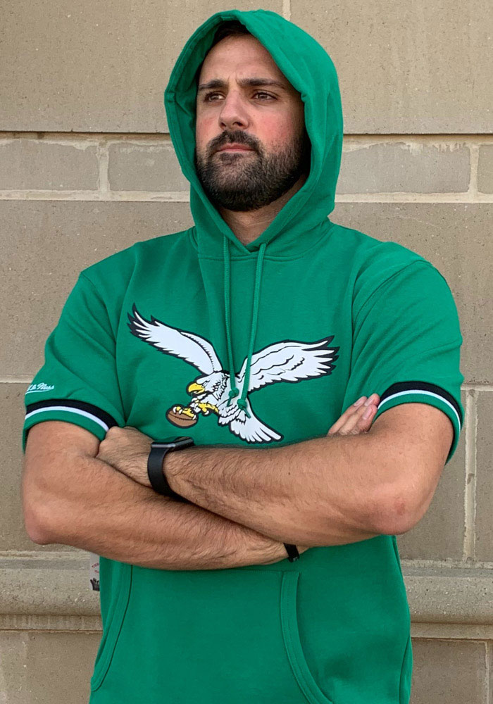 Mitchell and Ness Philadelphia Eagles Mens Kelly Green French Terry Fashion Hood - Image 3