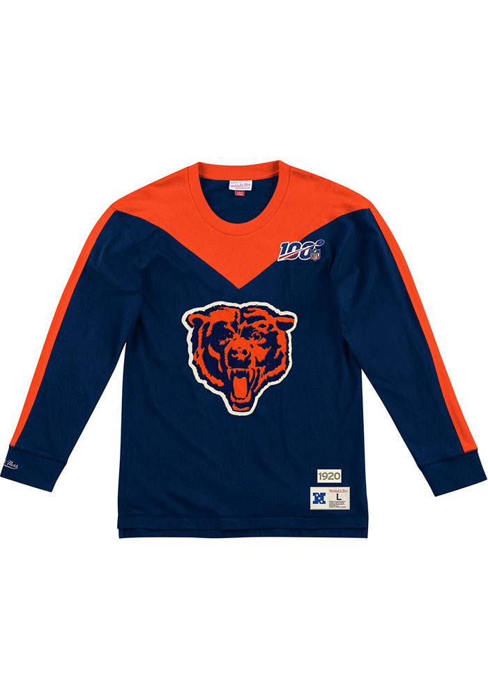 Mitchell and Ness Chicago Bears Navy Blue Team Inspired Long Sleeve Fashion T Shirt - Image 1