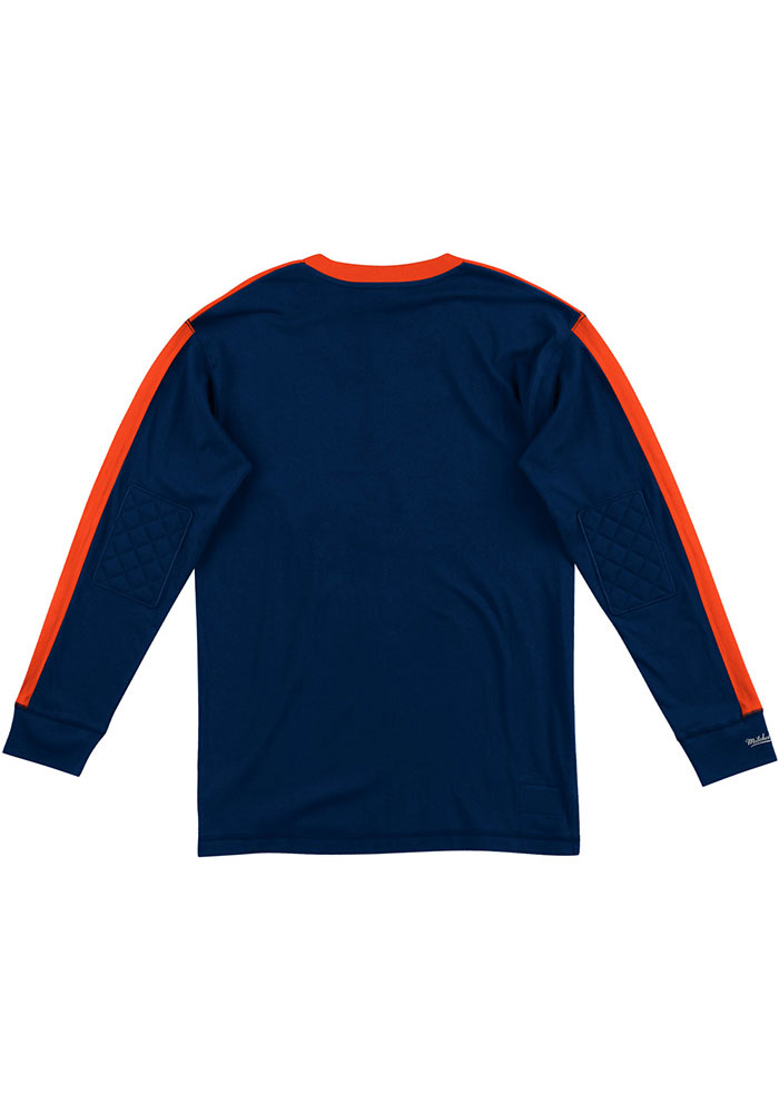 Mitchell and Ness Chicago Bears Navy Blue Team Inspired Long Sleeve Fashion T Shirt - Image 2