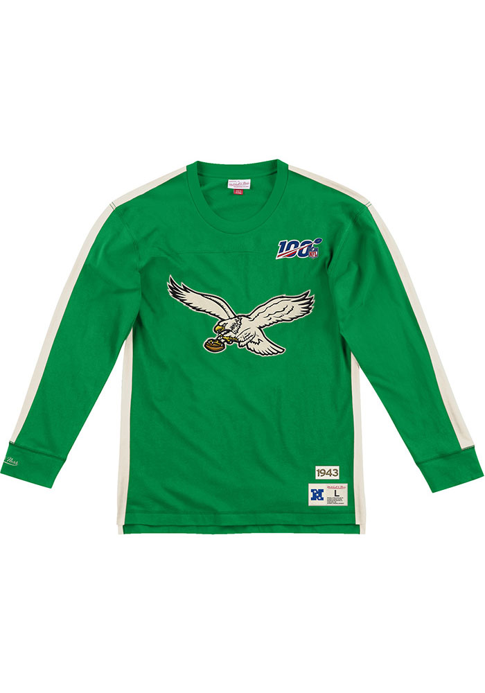 Mitchell and Ness Philadelphia Eagles Kelly Green Team Inspired Long Sleeve Fashion T Shirt - Image 1