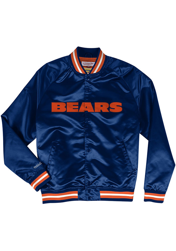 Mitchell and Ness Chicago Bears Mens Navy Blue Satin Light Weight Jacket - Image 1
