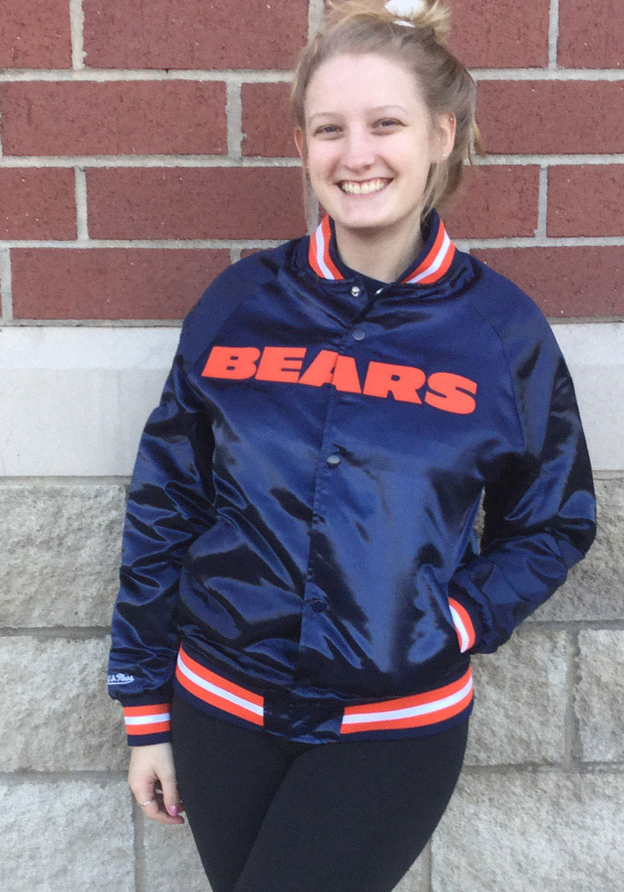 Mitchell and Ness Chicago Bears Mens Navy Blue Satin Light Weight Jacket - Image 3