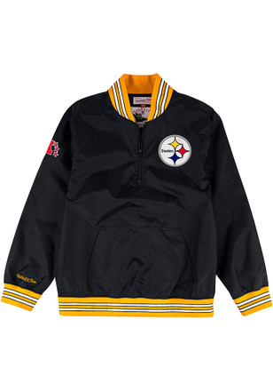 Mitchell and Ness Pittsburgh Steelers Mens Black Nylon Pullover