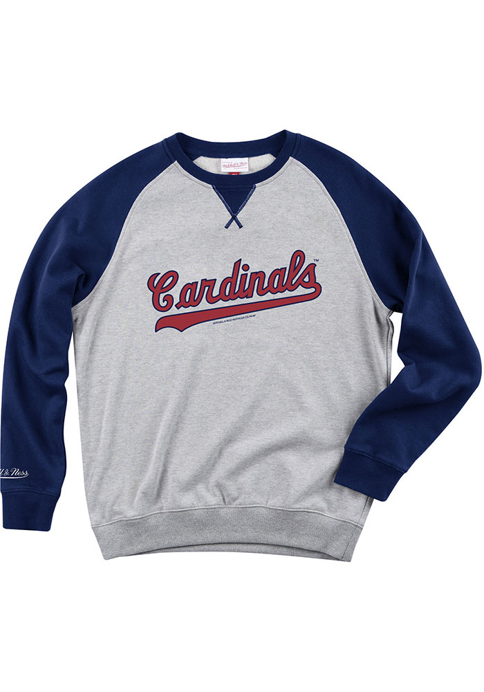 Mitchell and Ness St Louis Cardinals Mens Grey Turf Fleece Long Sleeve Fashion Sweatshirt - Image 1