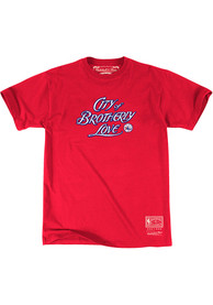 Mitchell and Ness Philadelphia 76ers Red Brotherly Love Fashion Tee