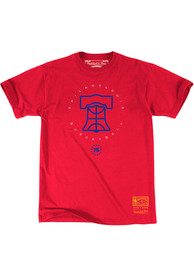 Philadelphia 76ers Mitchell and Ness Basket Bell Fashion T Shirt - Red