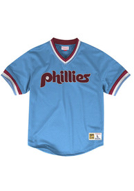 Philadelphia Phillies Mitchell and Ness Mesh V-Neck Cooperstown Jersey - Light Blue