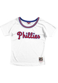 Womens Philadelphia Phillies Mitchell and Ness Slouchy Mesh Scoop Fashion Baseball - White