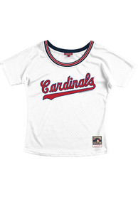 Womens St Louis Cardinals Mitchell and Ness Slouchy Mesh Scoop Fashion Baseball - White