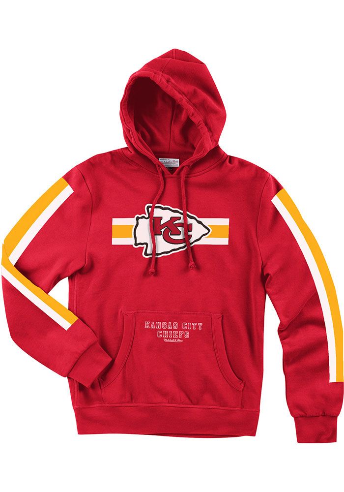 Mitchell and Ness Kansas City Chiefs Mens Red These Stripes Long Sleeve Hoodie - Image 1