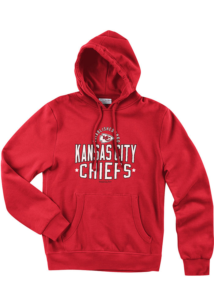 Mitchell and Ness Kansas City Chiefs Mens Red Lock Long Sleeve Hoodie - Image 1