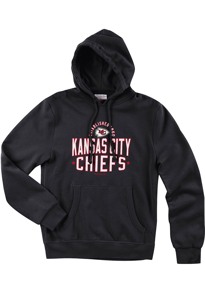 Mitchell and Ness Kansas City Chiefs Mens Black Lock Long Sleeve Hoodie - Image 1