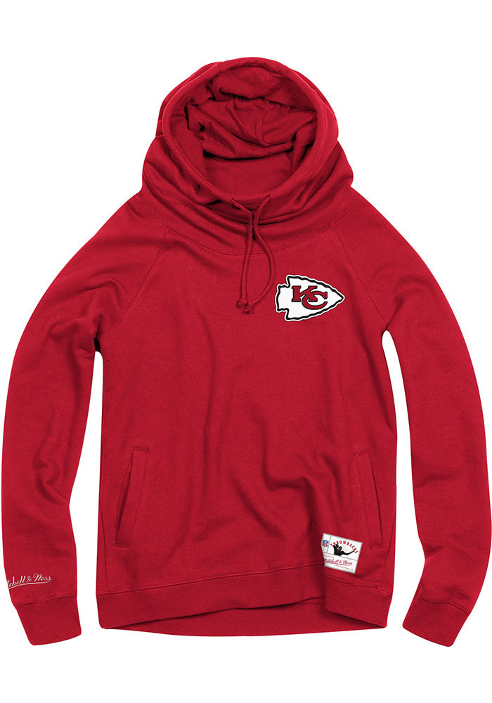 Mitchell and Ness Kansas City Chiefs Womens Red Funnel Neck Hooded Sweatshirt - Image 1