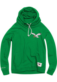 Mitchell and Ness Philadelphia Eagles Womens Green Funnel Neck Hoodie