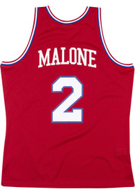 Moses Malone Philadelphia 76ers Mitchell and Ness 1982 Throwback Swingman Jersey - Red