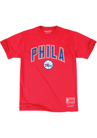 Mitchell and Ness Philadelphia 76ers Red Bold Fashion Tee