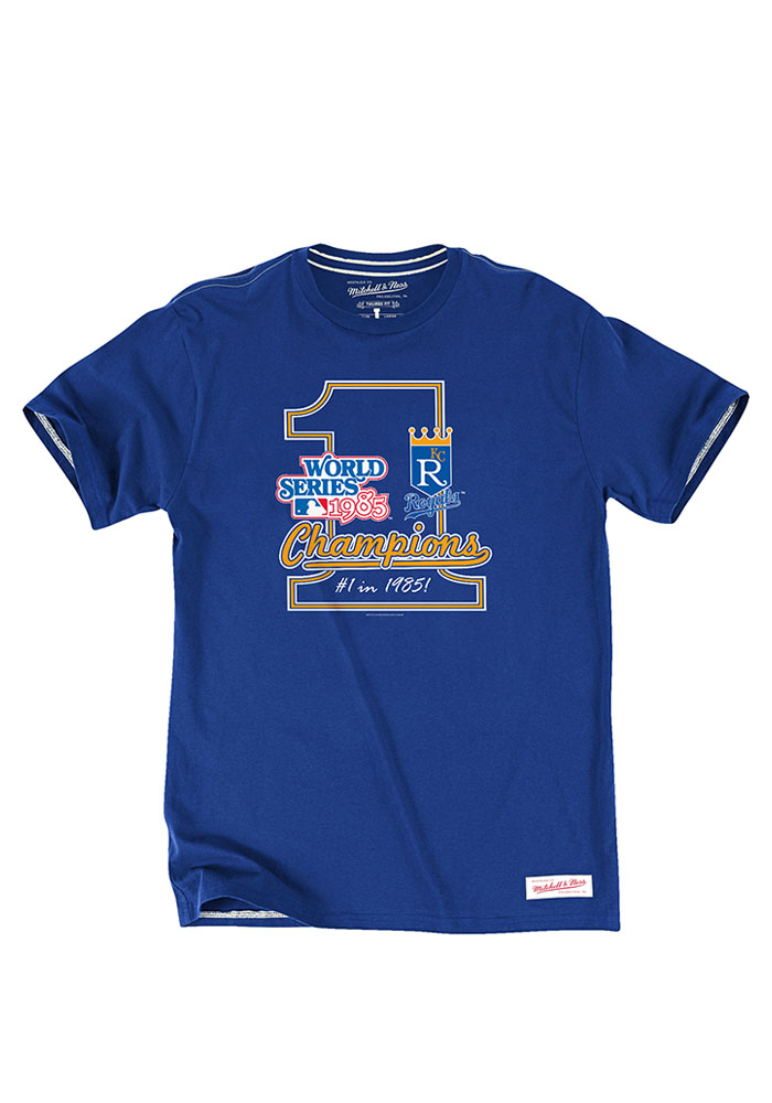 Mitchell and Ness Kansas City Royals Blue Number One Short Sleeve Fashion T Shirt - Image 1