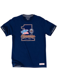 Mitchell and Ness Detroit Tigers Navy Blue Number 1 Fashion Tee