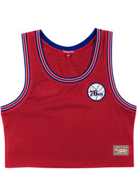 Philadelphia 76ers Womens Mitchell and Ness Mesh Tank Top - Red