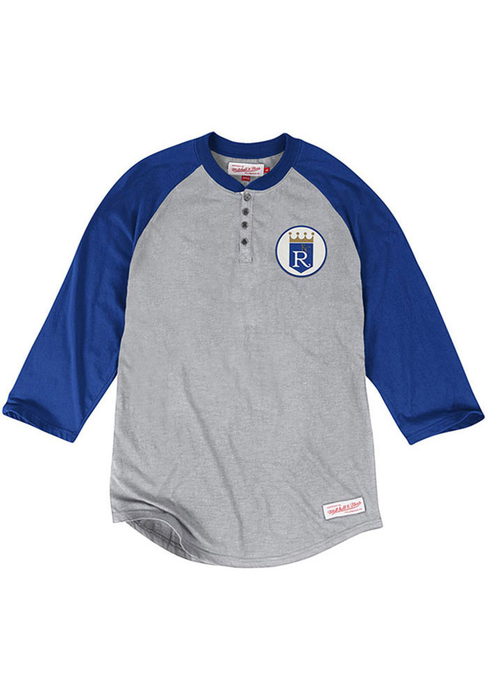 Mitchell and Ness Kansas City Royals Mens Grey Unbeaten Long Sleeve Fashion T Shirt - Image 1