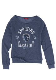 Mitchell and Ness Sporting Kansas City Womens Pick-Up Game Navy Blue Crew Sweatshirt