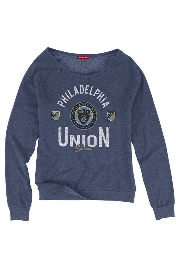 Mitchell and Ness Philadelphia Union Womens Navy Blue Pick-Up Game Crew Sweatshirt - Image 1