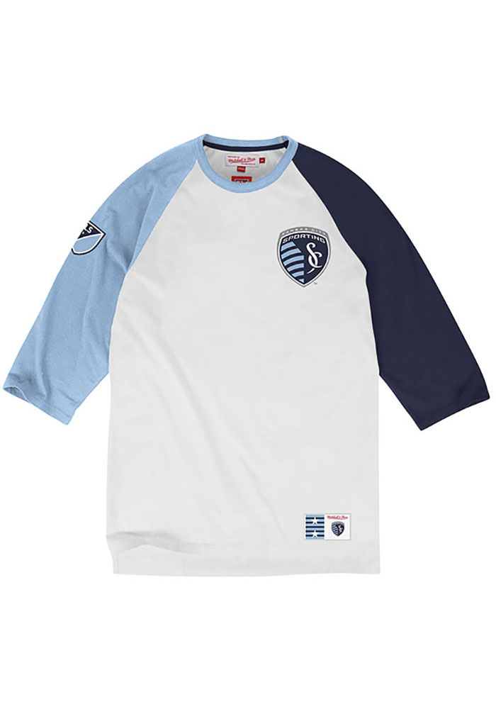 Mitchell and Ness Sporting Kansas City White Short Sleeve Fashion T Shirt - Image 1