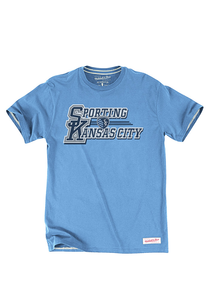 Mitchell and Ness Sporting Kansas City Blue Team Practice Short Sleeve Fashion T Shirt - Image 1