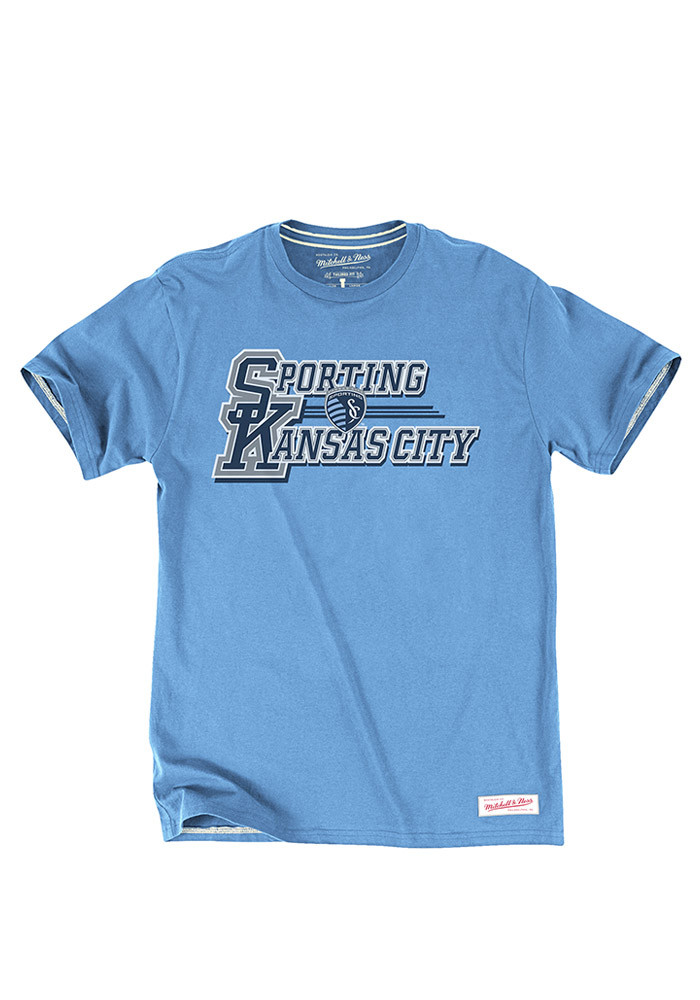 Mitchell and Ness Sporting Kansas City Mens Blue Team Practice Short Sleeve Fashion T Shirt - Image 1