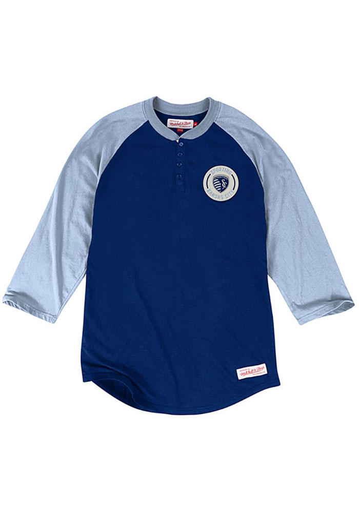 Mitchell and Ness Sporting Kansas City Mens Navy Blue Unbeaten Long Sleeve Fashion T Shirt - Image 1