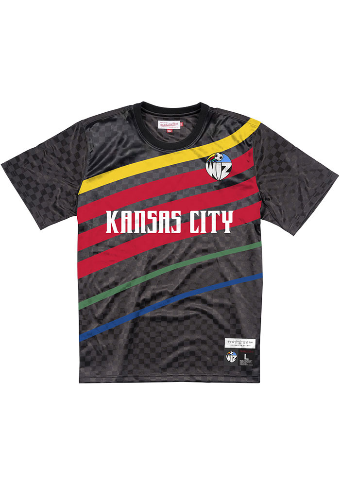 Mitchell and Ness Sporting Kansas City Black Sublimated KC Wizards Short Sleeve Fashion T Shirt - Image 1