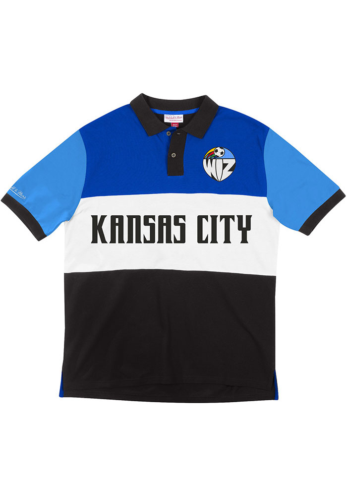 Mitchell and Ness Sporting Kansas City Mens Blue KC Wizards Color Blocked Short Sleeve Polo - Image 1